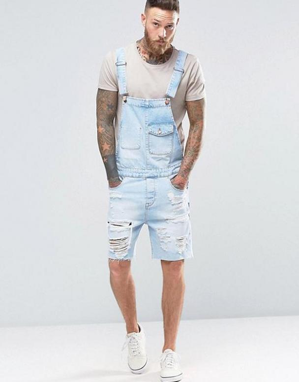 Мужской джинсовый комбинезон