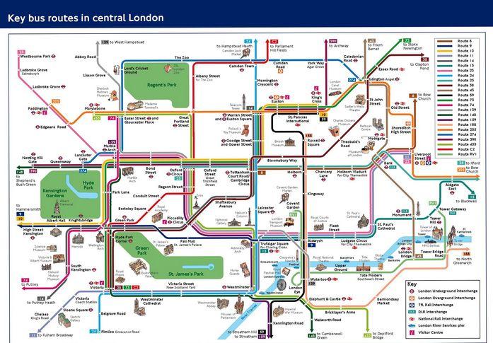 Лондонский автобус. Схема маршрутов