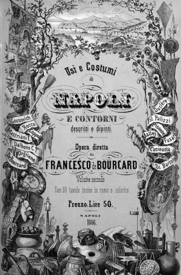 """История пиццы. """"Обычаи и традиции Неаполя и очертания, описанные и нарисованные"""" Франческо де Буркар"""