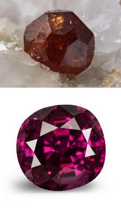 Камень гранат. Неогранённый и огранённый альмандин