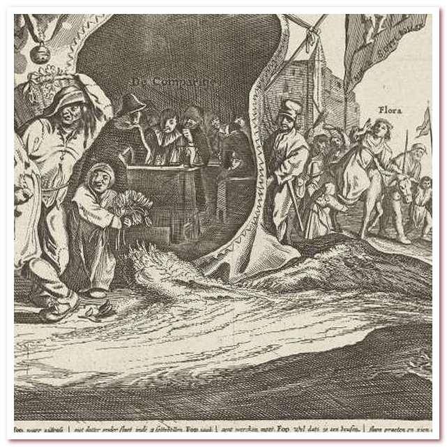 Тюльпановая лихорадка. Карикатура о торговле тюльпанами в 1637 году. Питер Нольпе, 1637 год.