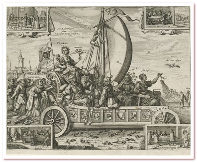 Тюльпановая лихорадка. Карикатура о торговле тюльпанами в 1637 году. Приписывается Криспейну ван де Пасу II, 1637 год.