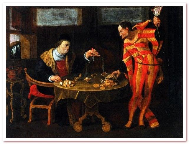 Тюльпановая лихорадка. Торговец и тюльпаноман. Картина-карикатура середины XVII века