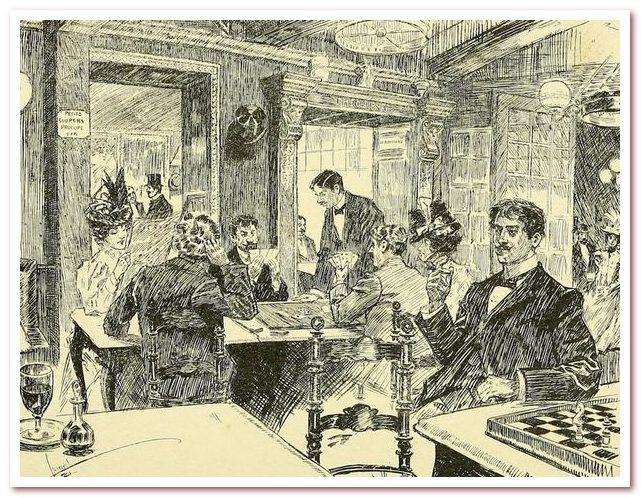 Интерьер из Café Procope в книге Богемный Париж наших дней с 1900 года.