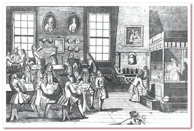 Кофейня в Лондоне 17 века.