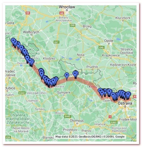 Линия Бенеша на карте