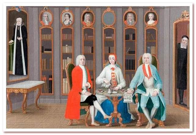Семья Stenbock пьет кофе в библиотеке замка Ронас, около 1740 года.