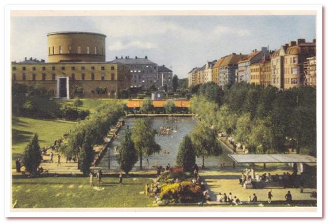 Где жил Карлсон. Стокгольмская общественная библиотека. Открытка 1950 г