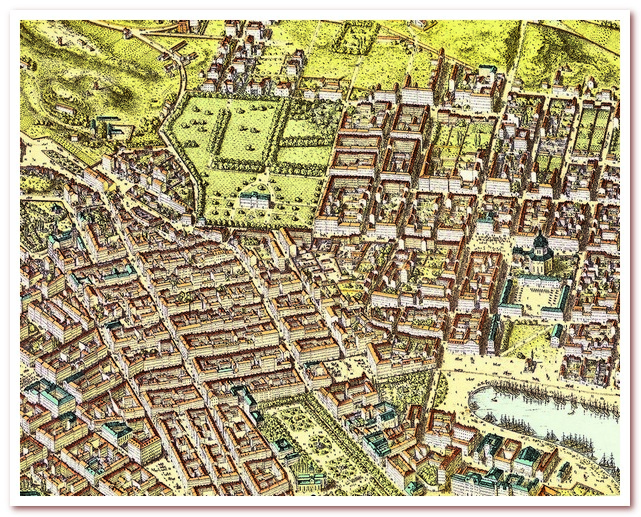 Стокгольм Астрид Линдгрен. Humlegården на плане 1875 года