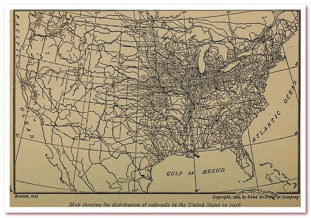 История железных дорог. Карта железных дорог США, 1916 год