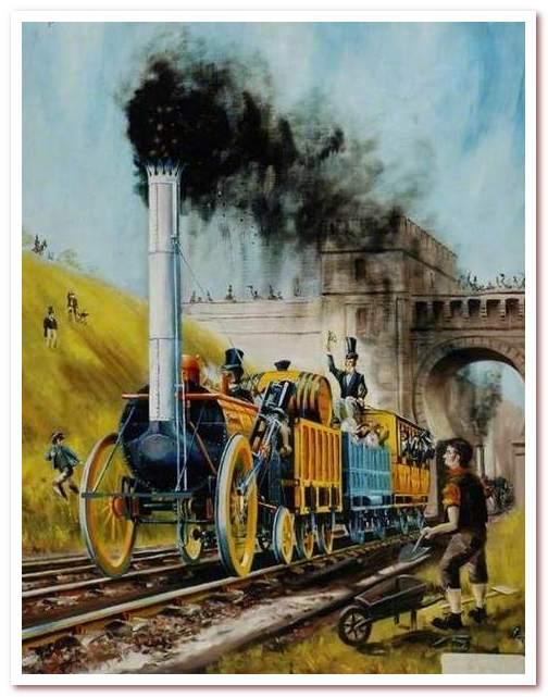 """История железных дорог. Паровоз """"Ракета"""" на линии Ливерпуль-Манчестер"""