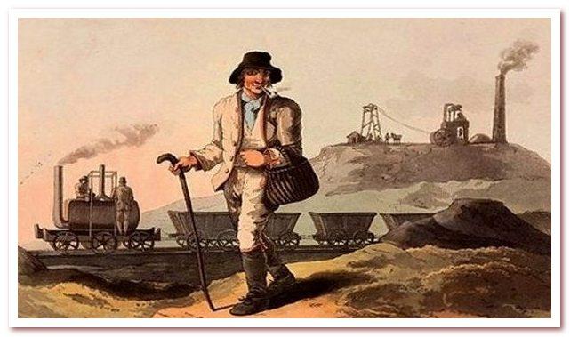 Паровоз Саламанка на акварели Джорджа Уокера, 1813 г — первая картина с изображением паровоза